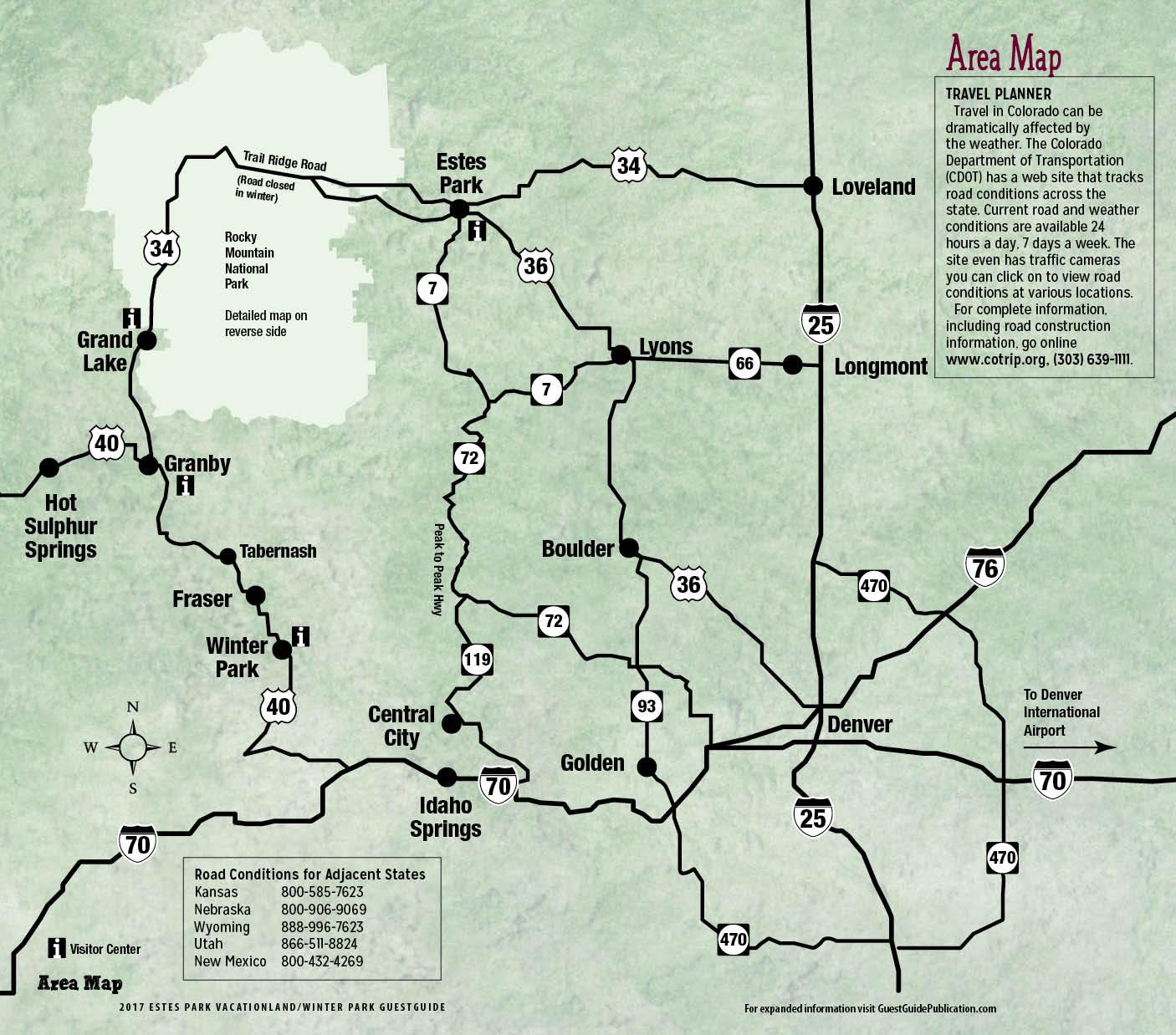 Estes Park Maps Free GuestGuide Publications - Map your route