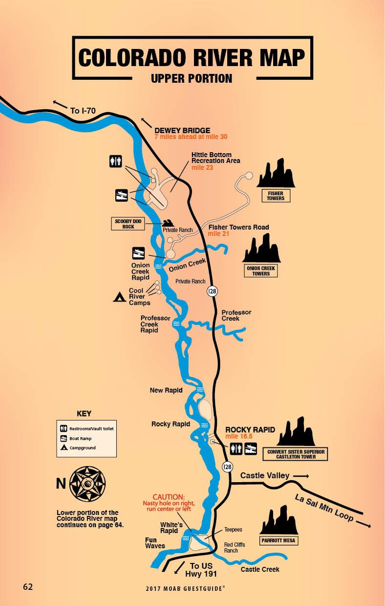 upper portion of the colorado river map. colorado river map  free guestguide travel  leisure publications