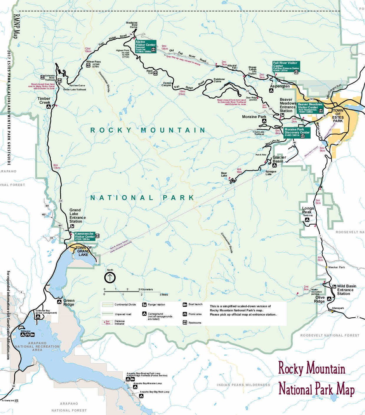 rocky mountain national park map  free guestguide publications  - rockymountainnationalpark