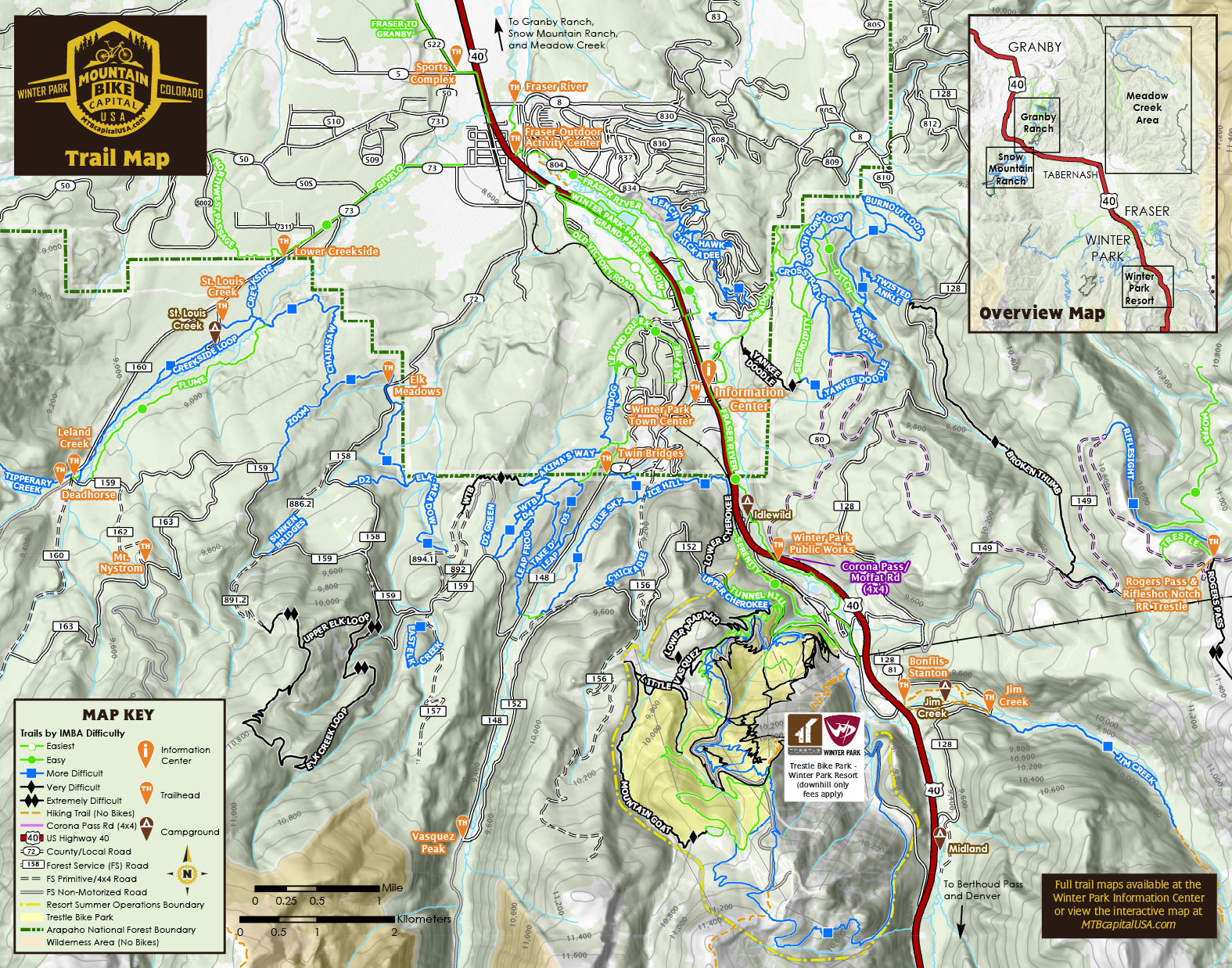 Winter Park and Fraser Mountain Bike Trail Map