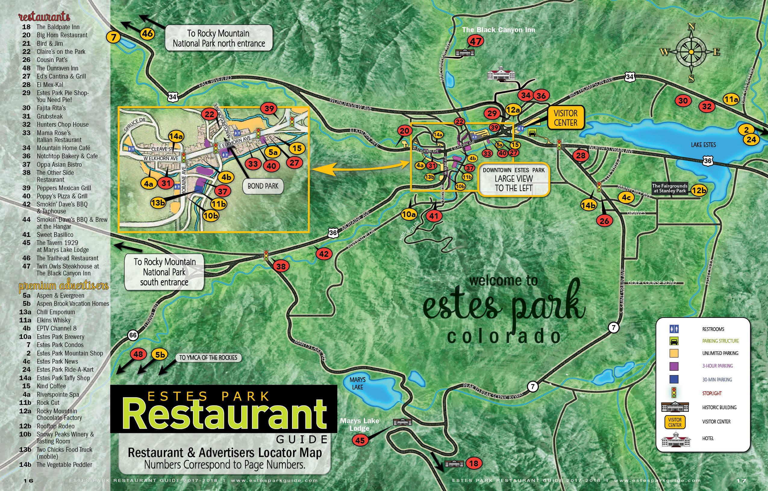 Estes Park Restaurant Map | Free GuestGuide Publications