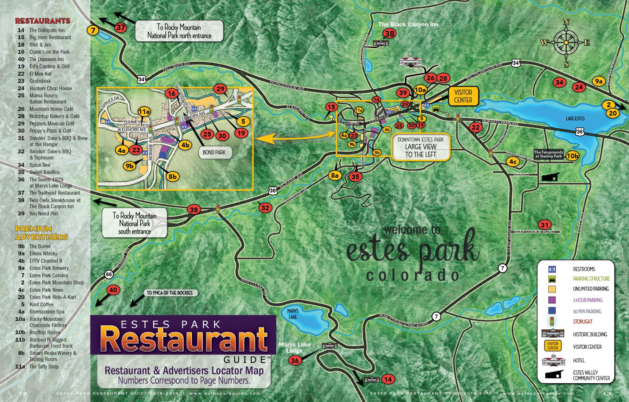 Estes Park Restaurant Map | Free GuestGuide Publications on food delivery nearby, attractions nearby, parks nearby, japanese gardens nearby, cafes nearby,
